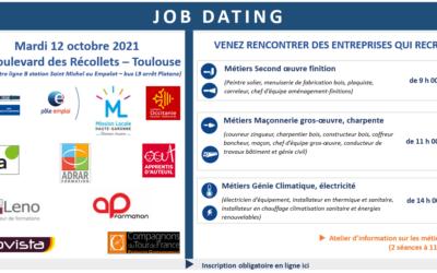 Jobdating, rencontrez les professionnels du BTP en Haute-Garonne !